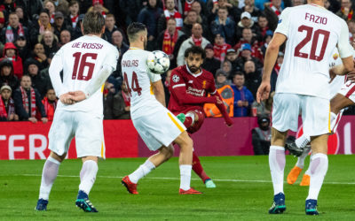 Liverpool's Mohamed Salah scores the first goal during the UEFA Champions League Semi-Final 1st Leg match between Liverpool FC and AS Roma at Anfield
