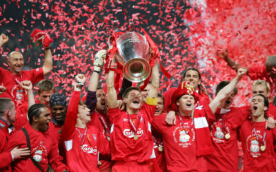 WEDNESDAY, MAY 25th, 2005: Liverpool's Steven Gerrard lifts the European Cup after beating AC Milan on penalties during the UEFA Champions League Final at the Ataturk Olympic Stadium, Istanbul.