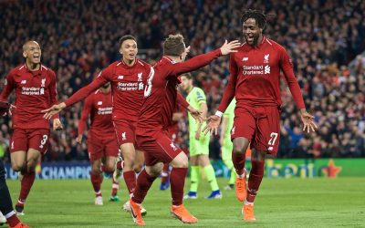 Tuesday, May 7, 2019: Liverpool's Divock Origi celebrates scoring the fourth goal with team-mates during the UEFA Champions League Semi-Final 2nd Leg match between Liverpool FC and FC Barcelona at Anfield.