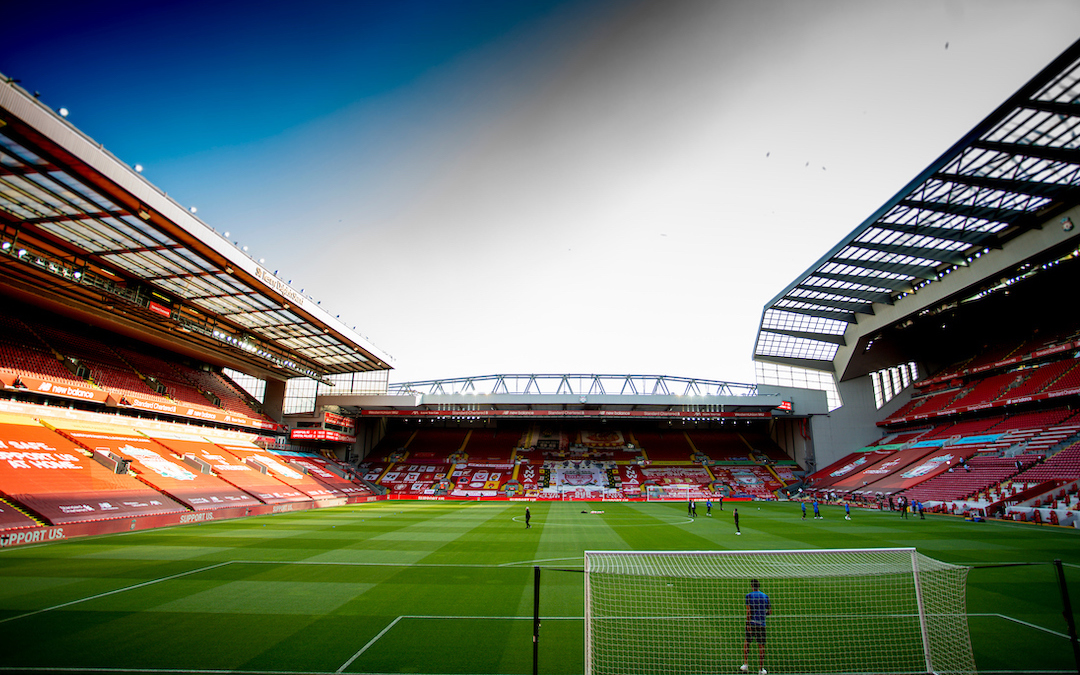 Banners and flags replace supporters on the Spion Kop as the stands are dressed for a behind closed doors game before the FA Premier League match between Liverpool FC and Crystal Palace FC at Anfield.