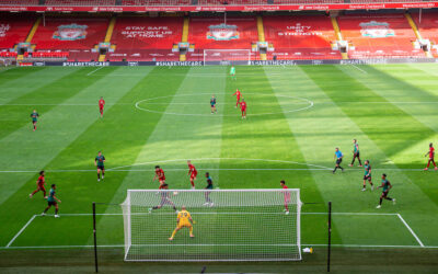 Sunday, July 5, 2020: Liverpool's Curtis Jones scores the second goal during the FA Premier League match between Liverpool FC and Aston Villa FC at Anfield. The game was played behind closed doors due to the UK government's social distancing laws during the Coronavirus COVID-19 Pandemic.