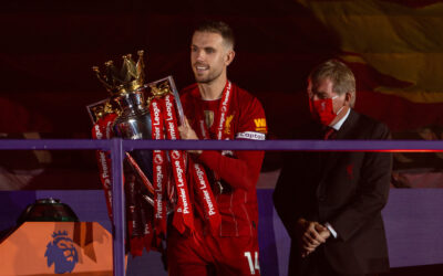 Jordan Henderson collects the trophy as Liverpool FC are crowned Premier League Champions