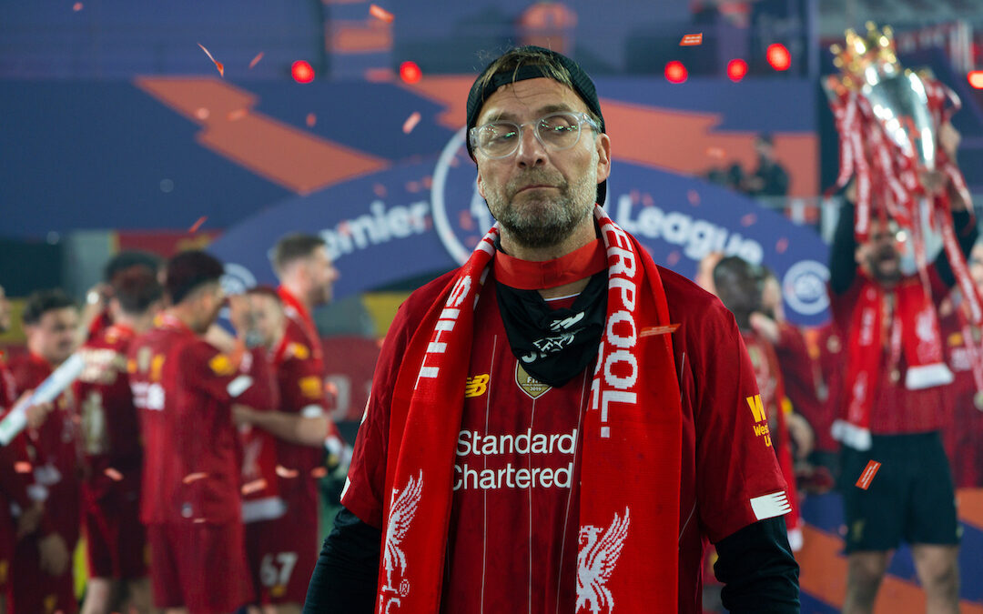 Liverpool's manager Jürgen Klopp celebrates as the Reds are crowned Champions after the FA Premier League