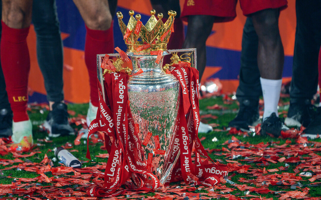 The Premier League trophy dressed in red ribbons during the presentation after the FA Premier League match between Liverpool FC and Chelsea FC at Anfield