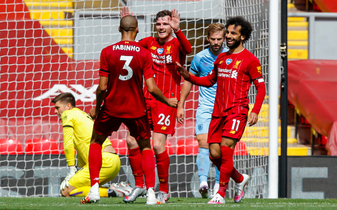 Liverpool's Andy Robertson celebrates with team-mates during the FA Premier League match between Liverpool FC and Burnley FC at Anfield