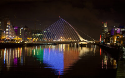 A light display featuring the Tricolour flag of Ireland on the Samual Beckett Bridge on the River Liffey in Dublin