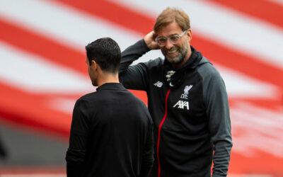 Liverpool's manager Jürgen Klopp (R) and Arsenal's manager Mikel Arteta (L) chat before the FA Premier League match between Arsenal FC and Liverpool FC at the Emirates Stadium