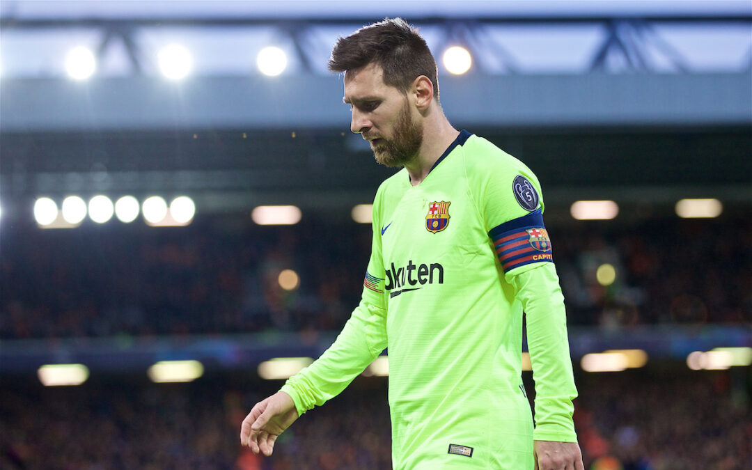 Barcelona's Lionel Messi during the UEFA Champions League Semi-Final 2nd Leg match between Liverpool FC and FC Barcelona at Anfield