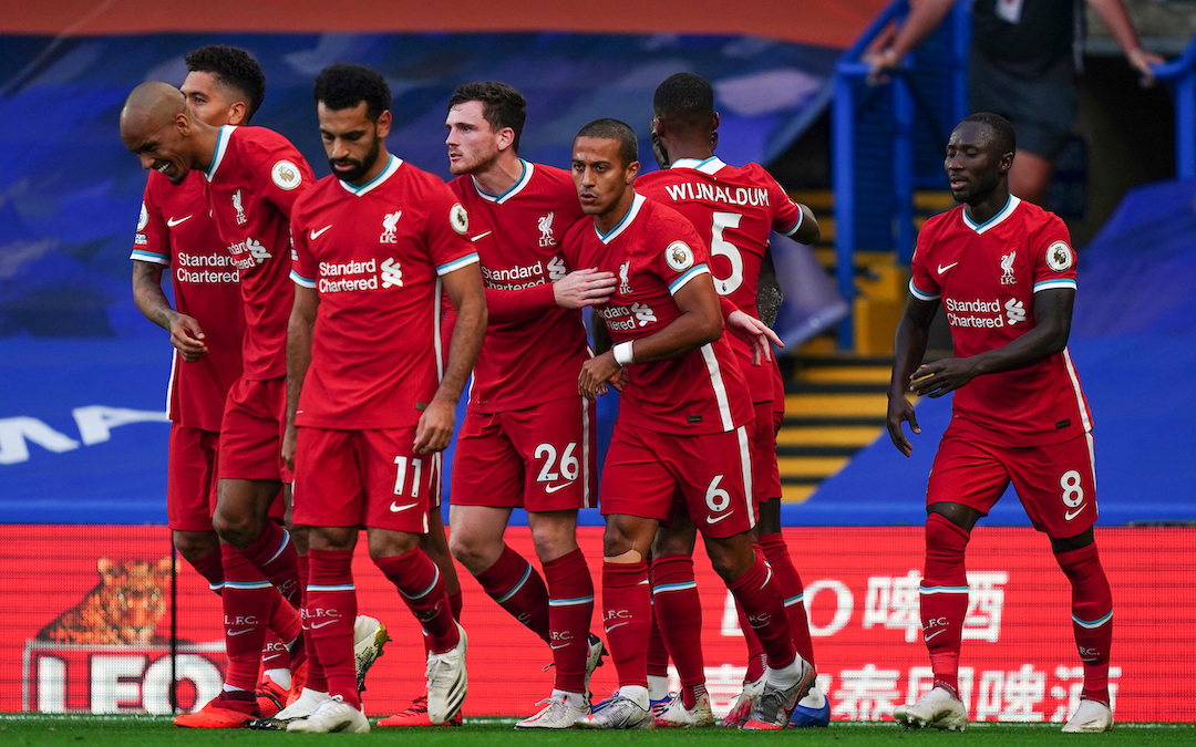 Liverpool players celebrate the opening goal with a header during the FA Premier League match between Chelsea FC and Liverpool FC at Stamford Bridge