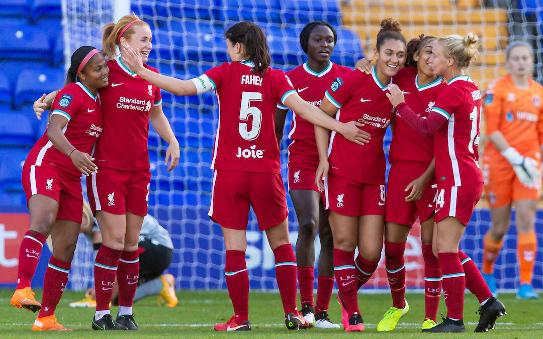 Liverpool's Jade Bailey (#8) celebrates scoring the second goal during the FA Women's Championship game between Liverpool FC Women and Charlton Athletic Women FC at Prenton Park