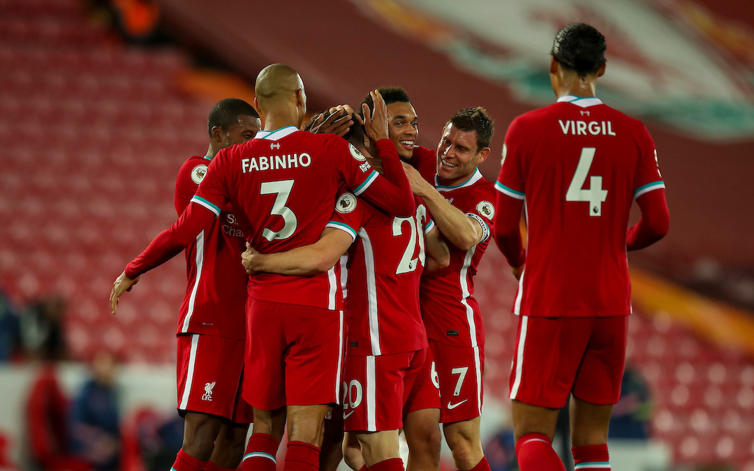 Liverpool players celebrate during the FA Premier League match between Liverpool FC and Arsenal FC at Anfield