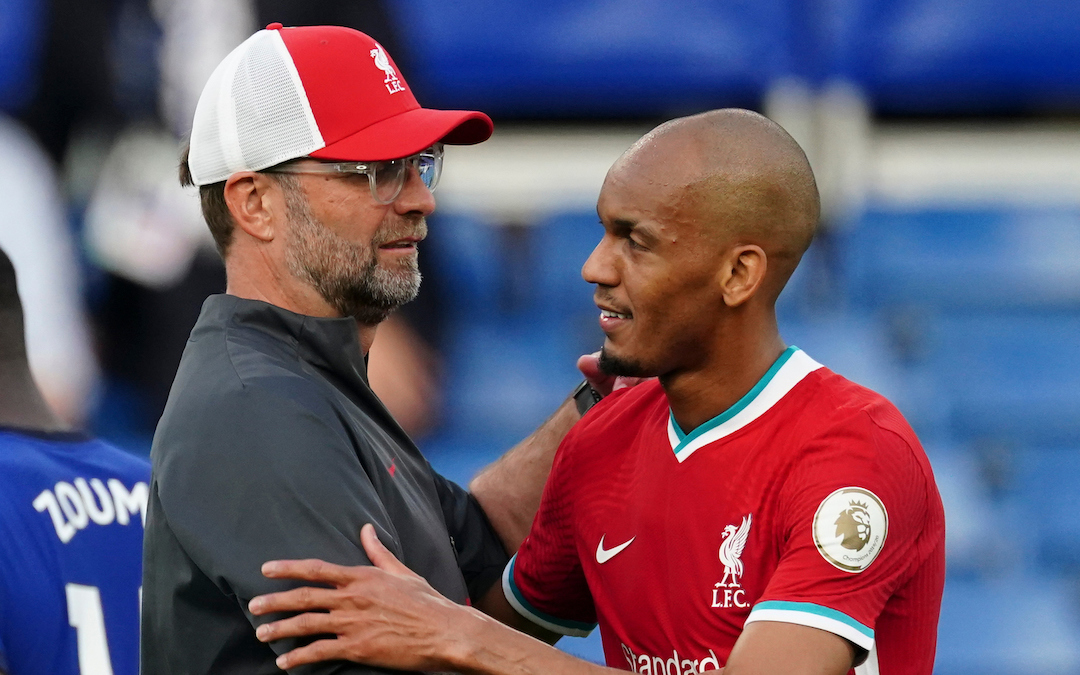 Liverpool's manager Jürgen Klopp embraces Fabinho after the FA Premier League match between Chelsea FC and Liverpool FC at Stamford Bridge