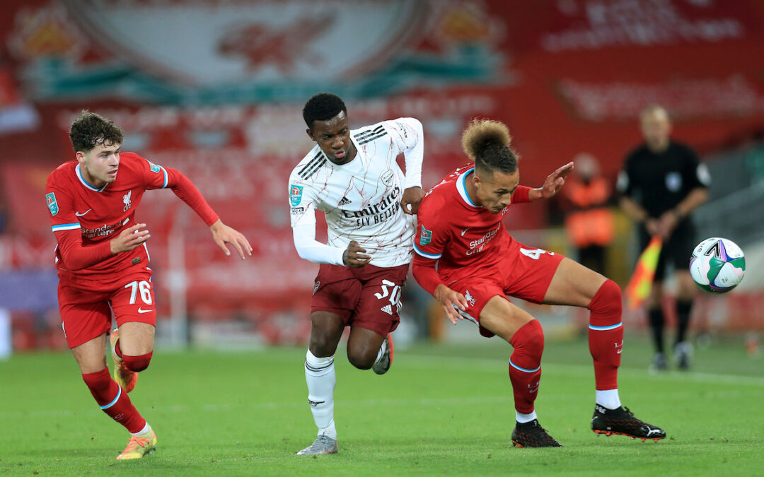 Liverpool's Rhys Williams (R) and Arsenal's Eddie Nketiah during the Football League Cup 4th Round match between Liverpool FC and Arsenal FC at Anfield