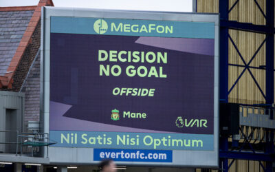 Liverpool's winning goal is disallowed by VAR review during the FA Premier League match between Everton FC and Liverpool FC, the 237th Merseyside Derby, at Goodison Park