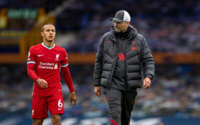 Thiago Alcantara and Jurgen Klopp during Merseyside Derby
