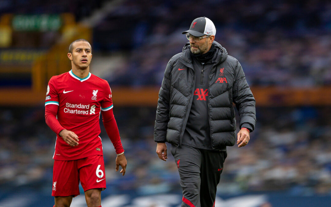 Thiago Alcantara and Jurgen Klopp during Merseyside Derby