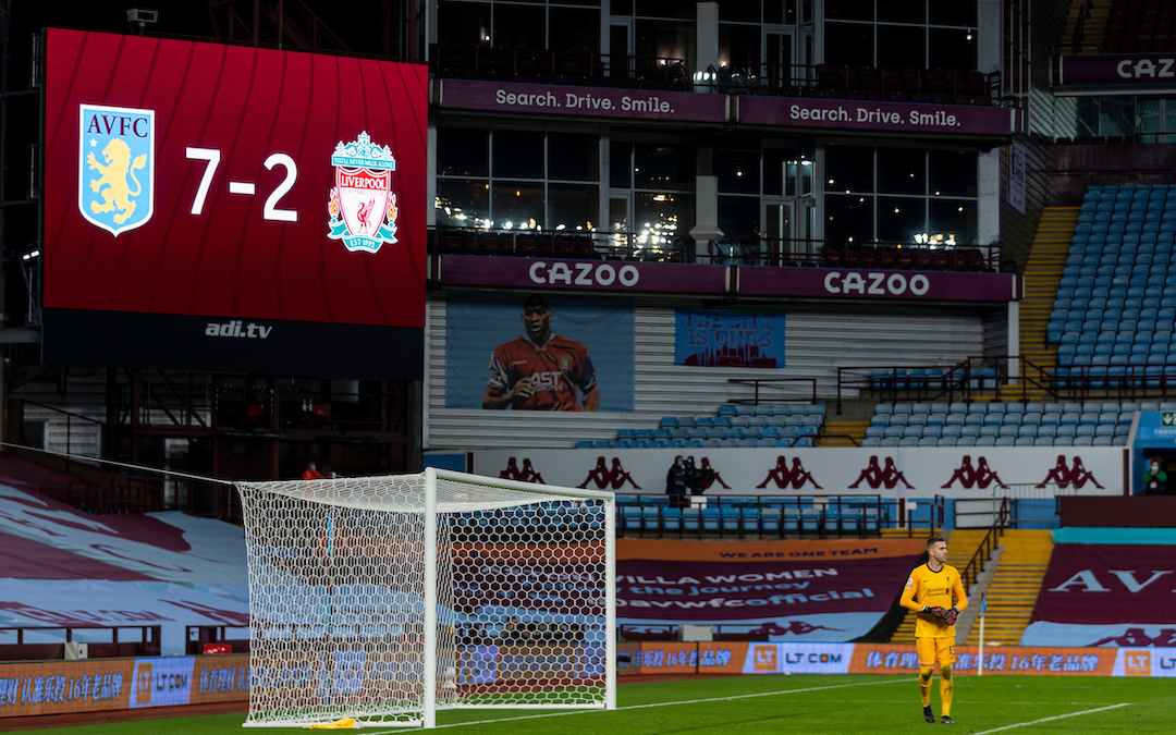 BIRMINGHAM, ENGLAND - Sunday, October 4, 2020: Liverpool's Adrian san Miguel during the FA Premier League match between Aston Villa FC and Liverpool FC at Villa Park. The game was played behind closed doors due to the UK government's social distancing laws during the Coronavirus COVID-19 Pandemic.
