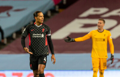 Liverpool's Virgil van Dijk looks dejected as Aston Villa score the opening goal during the FA Premier League match between Aston Villa FC and Liverpool FC at Villa Park