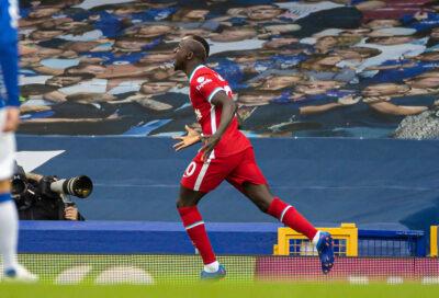 Sadio Mane Celebrates Goal for Liverpoo