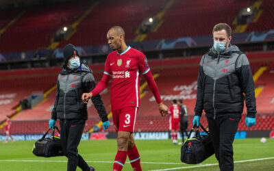 Liverpool's Fabio Henrique Tavares 'Fabinho' walks off injured during the UEFA Champions League Group D match between Liverpool FC and FC Midtjylland at Anfield.