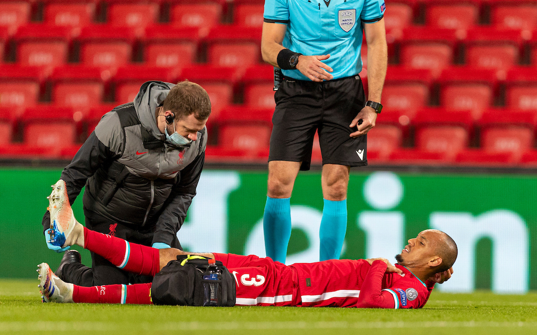 Liverpool's Fabio Henrique Tavares 'Fabinho' is treated for an injury during the UEFA Champions League Group D match between Liverpool FC and FC Midtjylland at Anfield.