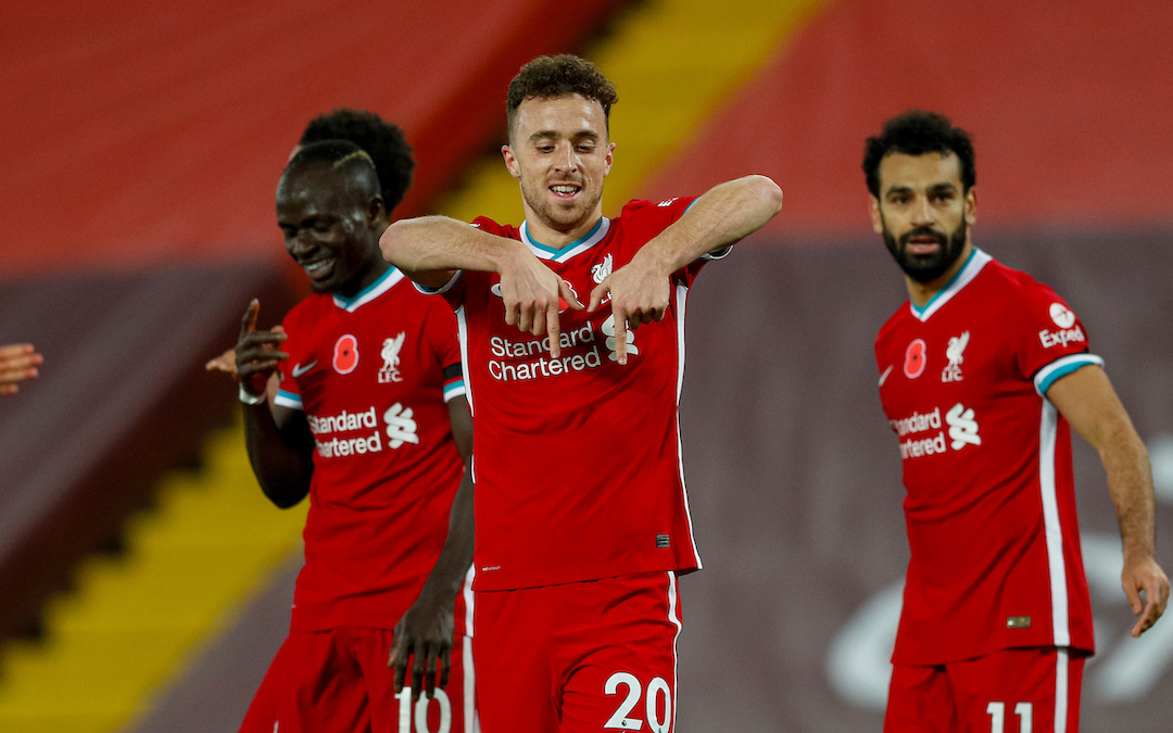 Diogo Jota celebrates for Liverpool