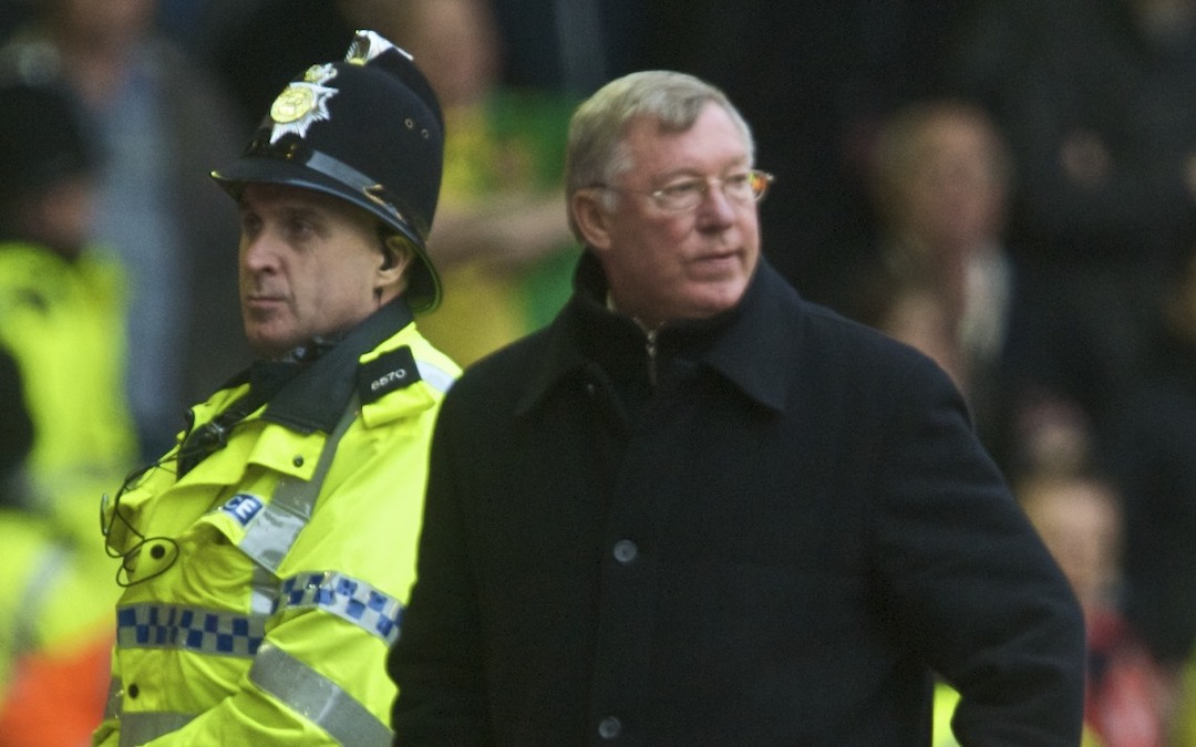 Manchester United's manager Alex Ferguson at Anfield