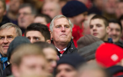 Liverpool's former goalkeeper Ray Clemence watches a game from the Spion Kop