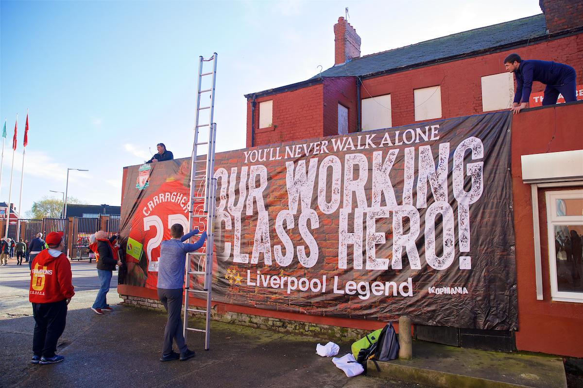 """A banner dedicated to Liverpool's """"Working Class Hero"""" Jamie Carragher"""