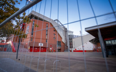 Liverpool Anfield Stadium is fenced off as the game is played behind closed doors due to the COVID-19 pandemic