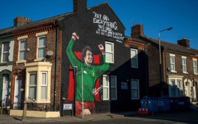 A mural of former Liverpool and England goalkeeper Ray Clemence