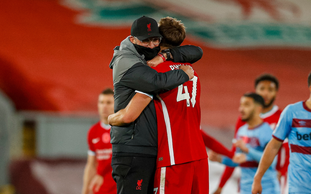 Jurgen Klopps hugs Nat Phillips