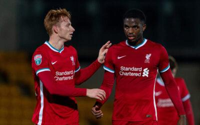 Liverpool's Sepp van den Berg and Billy Koumetio