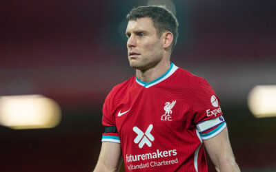 Liverpool's vice captain James Milner during the FA Premier League match between Liverpool FC and Leicester City FC at Anfield