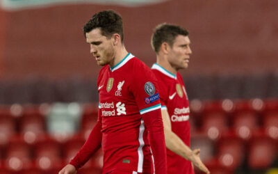 Liverpool's Andy Robertson and James Milner after the UEFA Champions League Group D match between Liverpool FC and Atalanta BC at Anfield