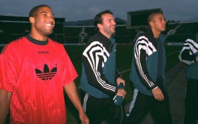 Liverpool's captain John Barnes, Neil Ruddock and Stan Collymore