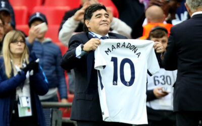Diego Maradona appears at half time of the FA Premier League match between Tottenham Hotspur and Liverpool