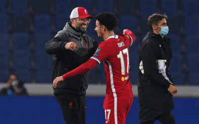 Liverpool's manager Jürgen Klopp celebrates with Curtis Jones after the UEFA Champions League Group D match between Atalanta BC and Liverpool FC at the Stadio di Bergamo