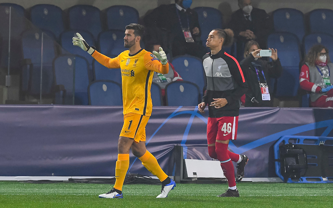 Liverpool's goalkeeper Alisson Becker and young defender Rhys Williams