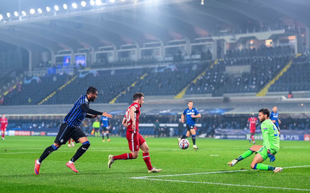 Liverpool's Diogo Jota scores the first goal during the UEFA Champions League Group D match between Atalanta BC and Liverpool FC at the Stadio di Bergamo
