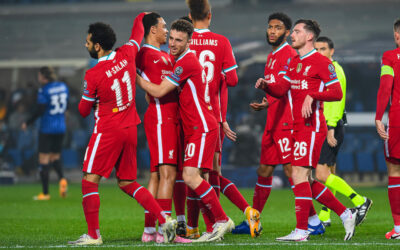 Diogo Jota celebrates with Liverpool team vs Atalanta