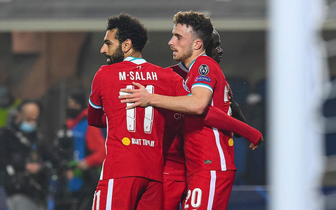 Diogo Jota Sadio Mane Mo Salah Celebrate vs Atalanta