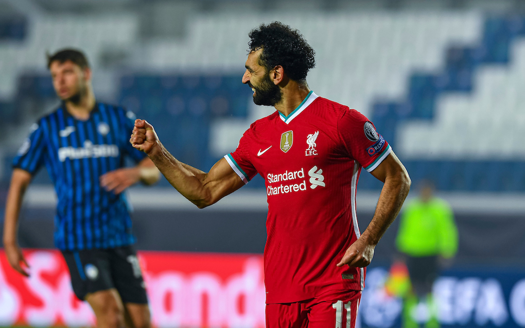 Liverpool's Mohamed Salah celebrates after scoring the third goal during the UEFA Champions League Group D match between Atalanta BC and Liverpool FC at the Stadio di Bergamo.