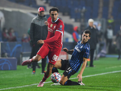 Liverpool Trent Alexander-Arnold gets past Atalanta's Remo Freuler