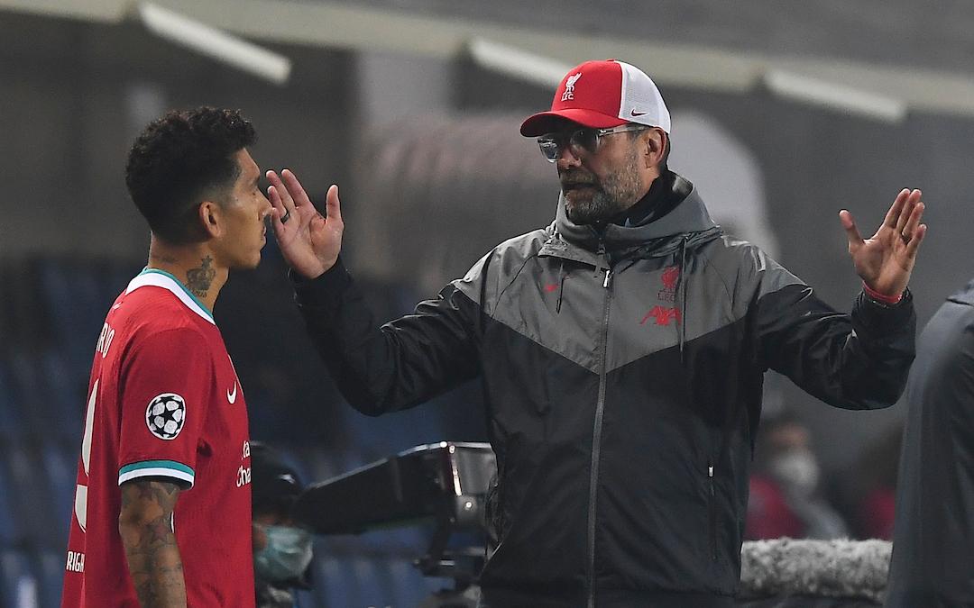 Liverpool's manager Jürgen Klopp prepares to bring on substitute Roberto Firmino