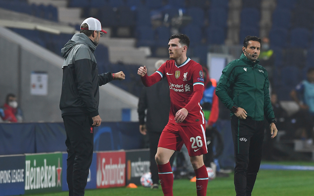 Liverpool's manager Jürgen Klopp (L) fist bumps Andy Robertson during the UEFA Champions League Group D match between Atalanta BC and Liverpool FC at the Stadio di Bergamo.
