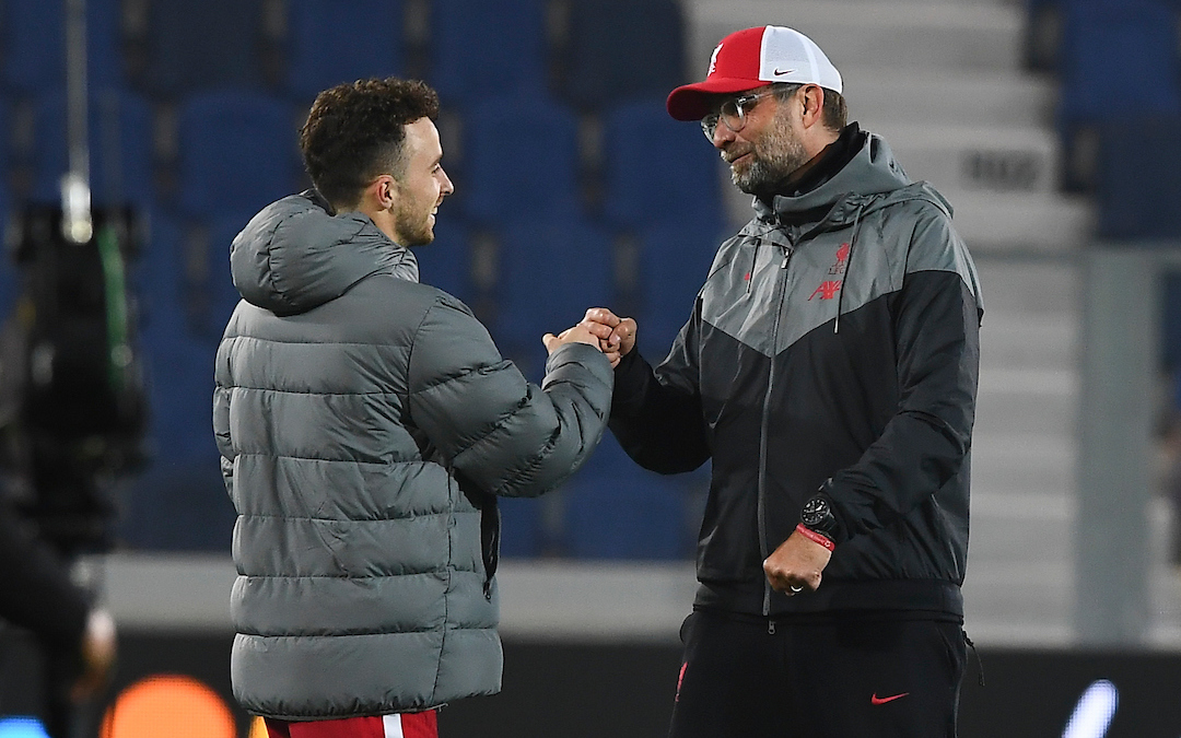 Liverpool Manager Jurgen Klopp with Diogo Jota vs Atalanta