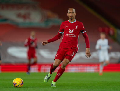 Liverpool's Fabinho during the FA Premier League match between Liverpool FC and Leicester City FC at Anfield
