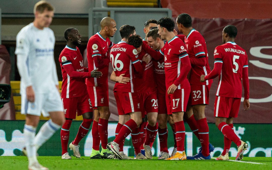 Liverpool players celebrate after Diogo Jota scored the second goal during the FA Premier League match between Liverpool FC and Leicester City FC at Anfield