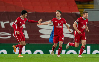 Liverpool's Diogo Jota celebrates after scoring the second goal during the Premier League match between Liverpool FC and Leicester City FC at Anfield